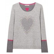 White Stuff 'Confetti Heart Jumper' grey