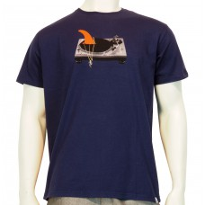 S/S regular printed T-Shirt Technics fine cotton navy