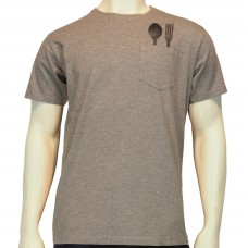S/S regular printed PKT T-Shirt J Bergara fine cotton heather grey