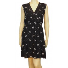 'Bethany Zebra Polka cross front Dress'