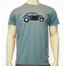 S/S regular printed TS Car fine cotton bluish