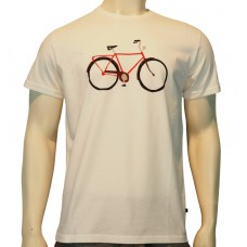 S/S regular printed TS Bike fine cotton white