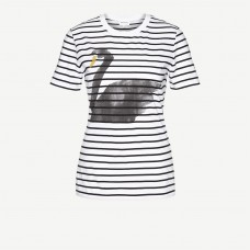 Armedangels 'Lida big Swan on Stripes' white-black-yellow