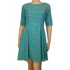 'Lovebird Print fit and flare dress'