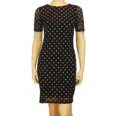 YUMI Black spot lace Dress