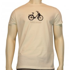 S/S slim printed T-Shirt Velosolex 2200 fine cotton ecru