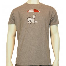 S/S regular printed T-Shirt Mi Carro fine cotton heather grey