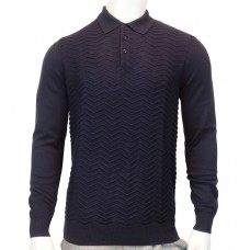 Peter Werth Pierson LS 14GG knitted cotton zig zag stitch Polo navy
