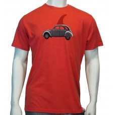 'S/S regular printed TS TM 2CV fine cotton heather red'